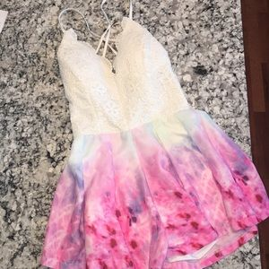 New White and watercolor romper